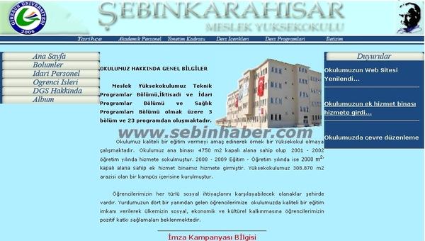 Şebinkarahisar MYO Web Sayfası Yayında