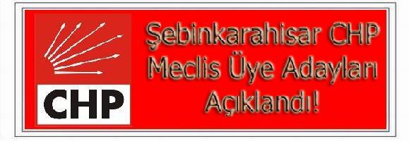 Şebinkarahisar CHP Parti Aday Listesi Açıklandı