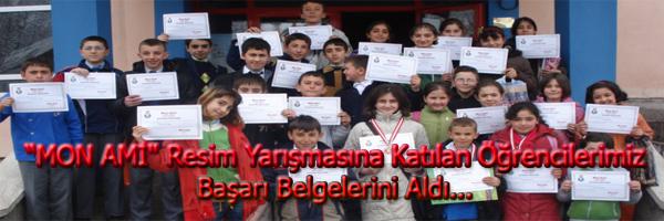 MON AMİ Resim Yarışmasına Katılan Öğrencilerimiz Başarı Belgelerini Aldı