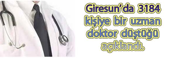 3184 Kişiye Bir Uzman Doktor