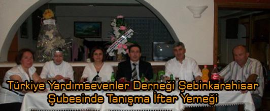 Türkiye Yardımsevenler Derneği Şebinkarahisar Şubesinde İftar Yemeği