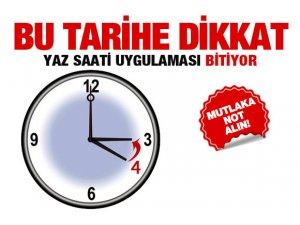 Aman saatlerinizi geri almayı unutmayın!