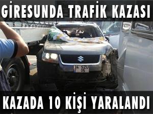 GİRESUN'DA TRAFİK KAZASI: 10 YARALI